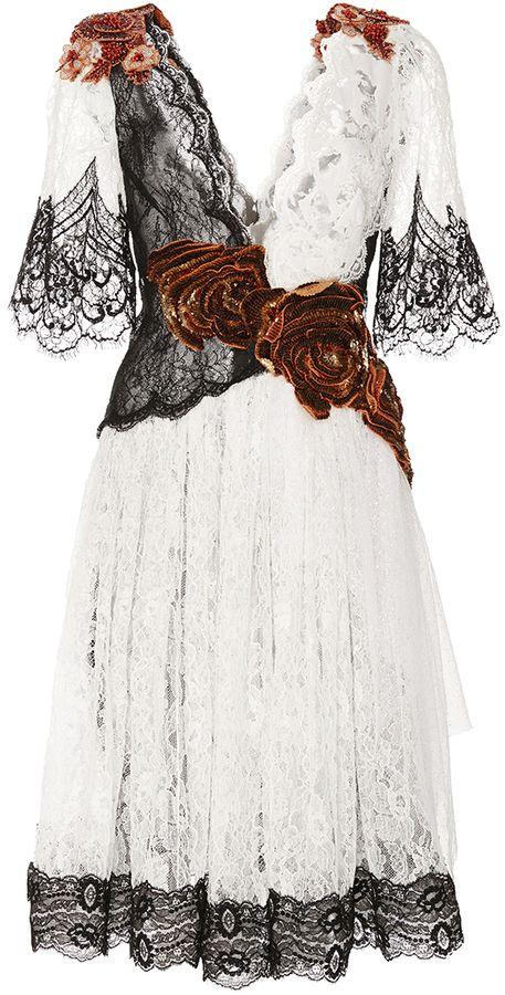 Rodarte Floral Embellished Lace Flutter Sleeve Dress #Rodarte #Fashion #WomensFashion #LadiesFashion #HauteCouture #Style #DesignerDresses #FashionWear #Silk #Lace