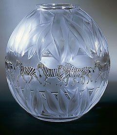 "$5,084.00 Lalique Tanzania Black Zebra 1235000 Crystal Clear 8"" Vase 6.5# new MIB"