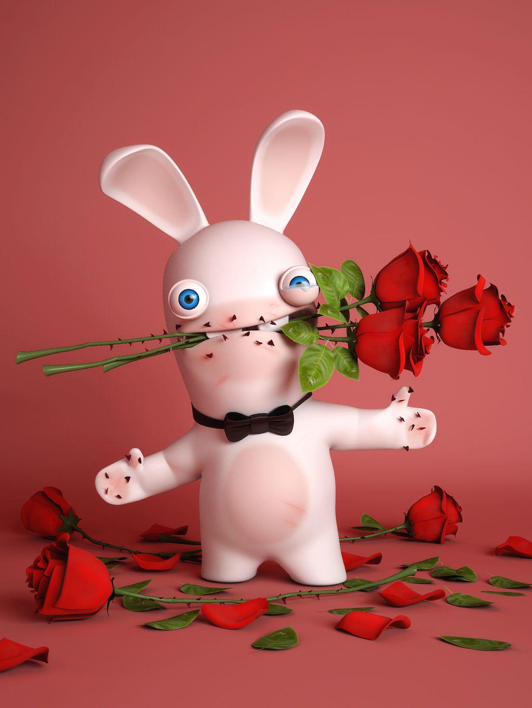Открытки зайцев с цветами имеет одиночный