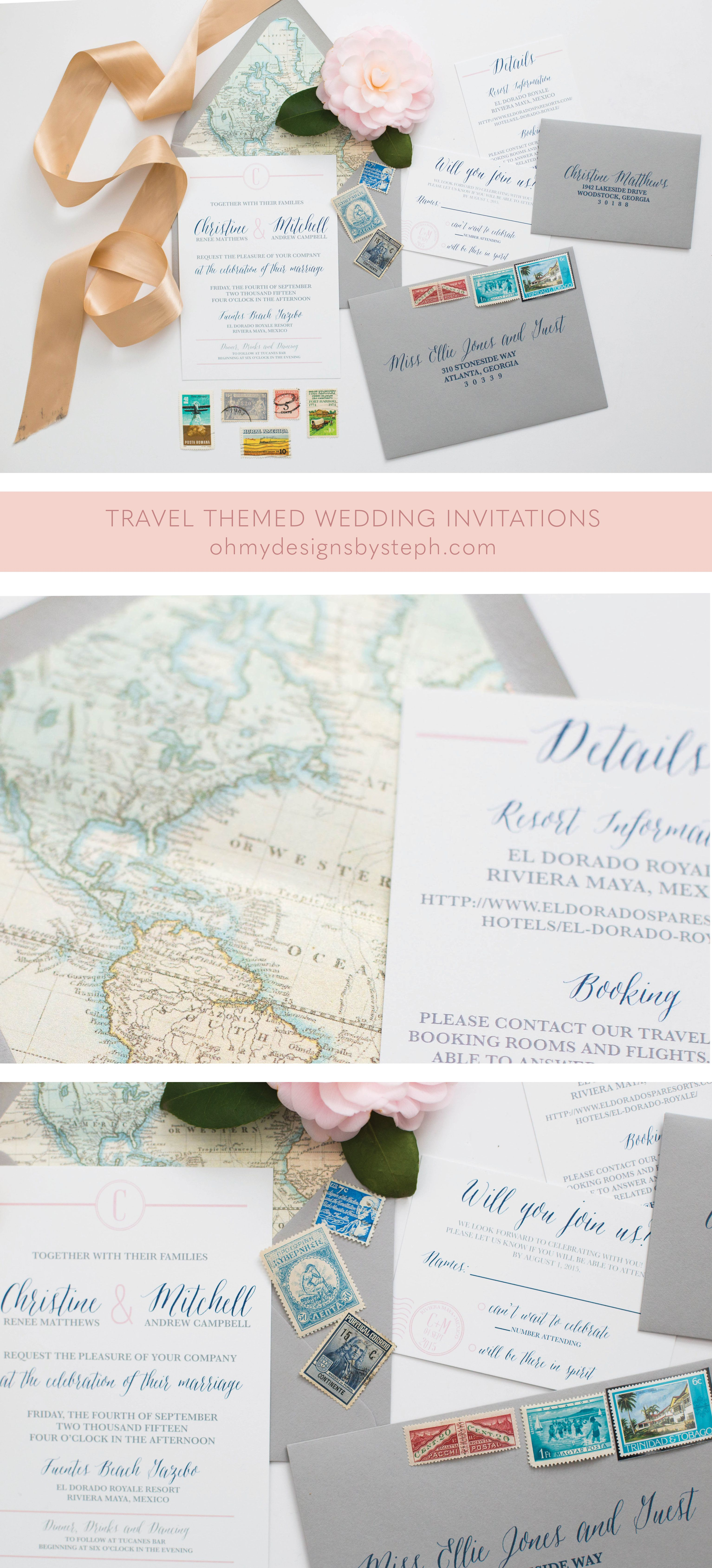 Travel Map Wedding Invitation | Destination Wedding Invitations ...