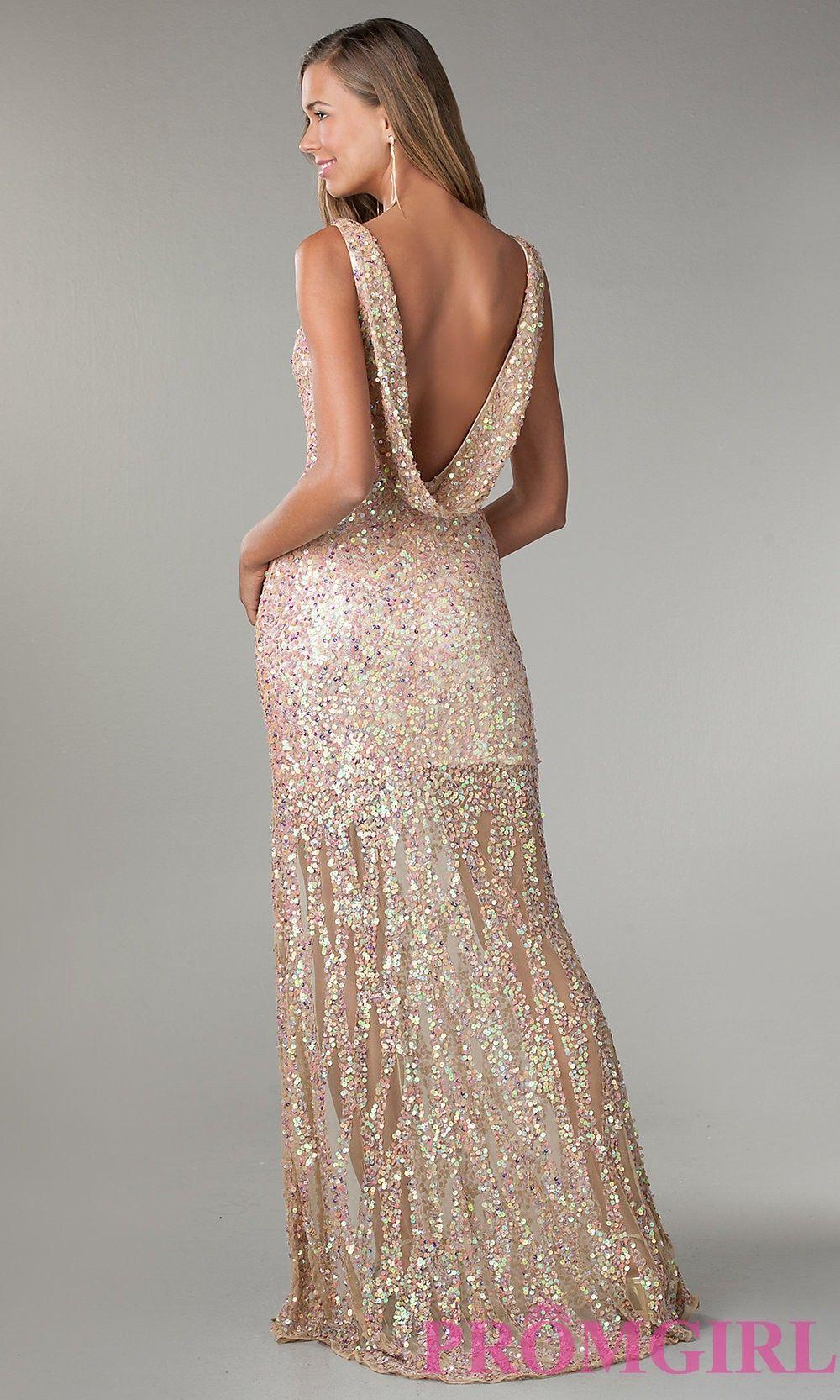 Floor length vneck sequin dress formal dance designer
