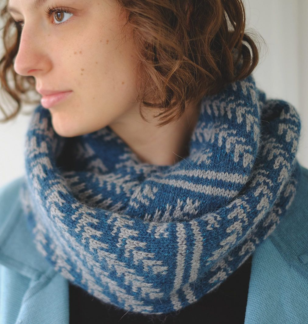Free knitting pattern for pine bough cowl stranded cowl and free knitting pattern for pine bough cowl stranded cowl and infinite scarf features colorwork stripes bankloansurffo Choice Image
