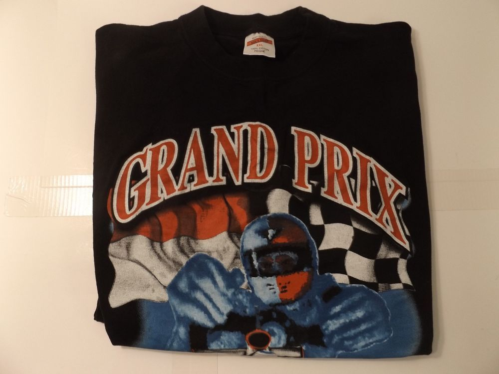 Tee Shirt Auto Racing Grand Prix Monaco Black Large | eBay