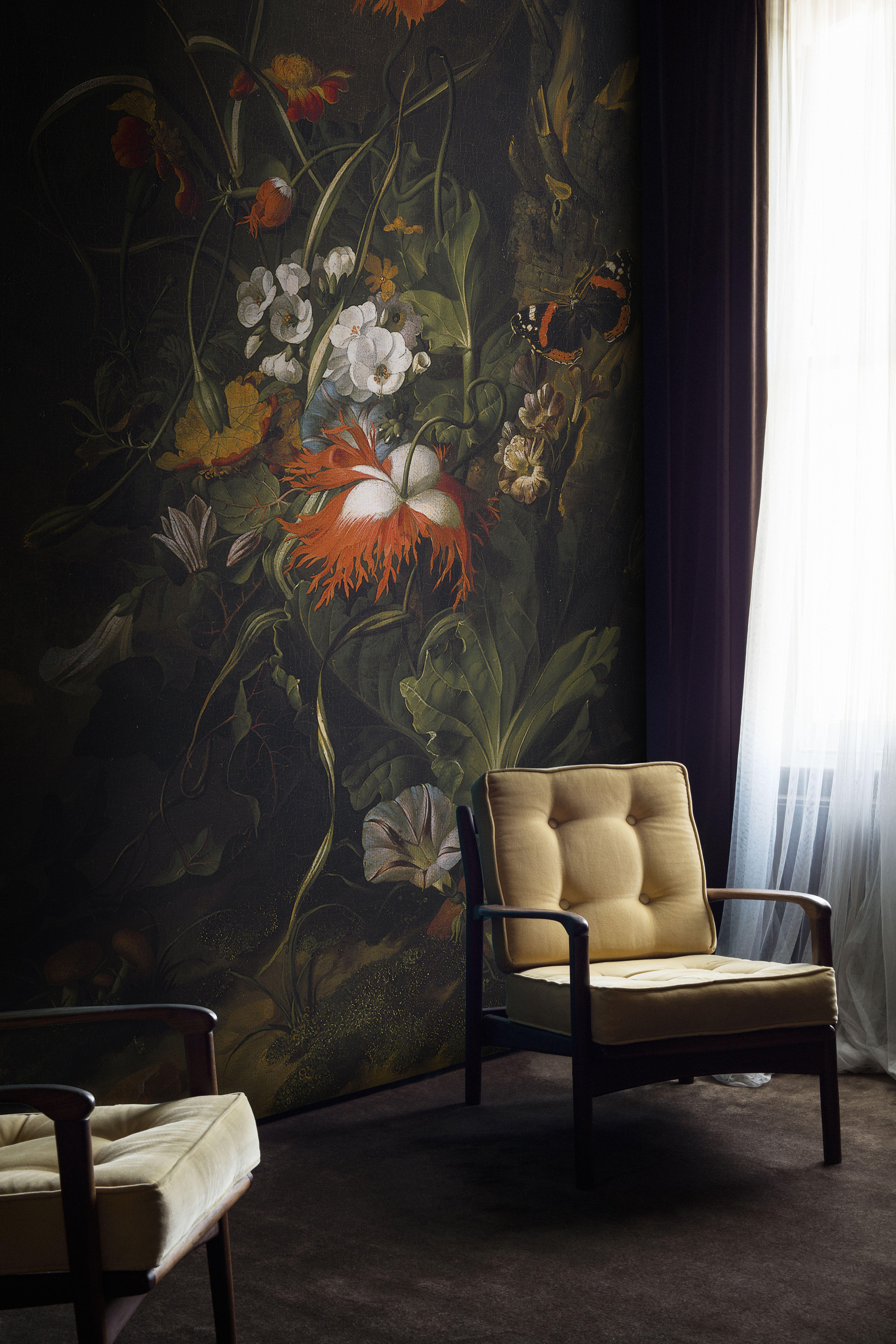 A forest floor still life of flowers mural by rachel ruysch