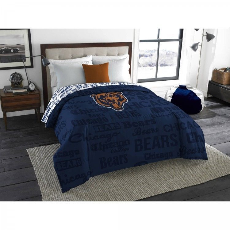 Chicago Bears Bedding Full Twin NFL Comforter Football Bed Cover Bedroom  Decor