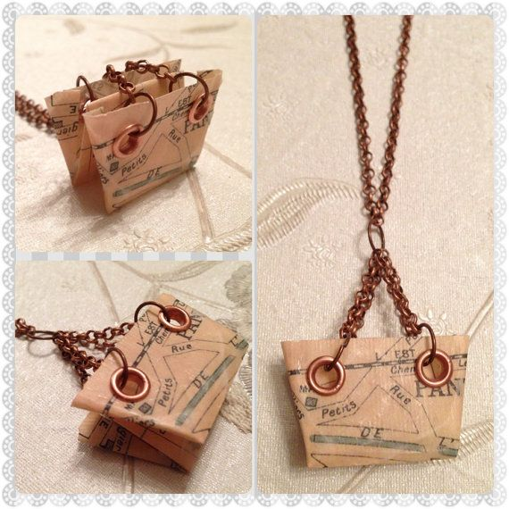 Origami Paper Handbag Necklace by SLHJewellery on Etsy, £10.00