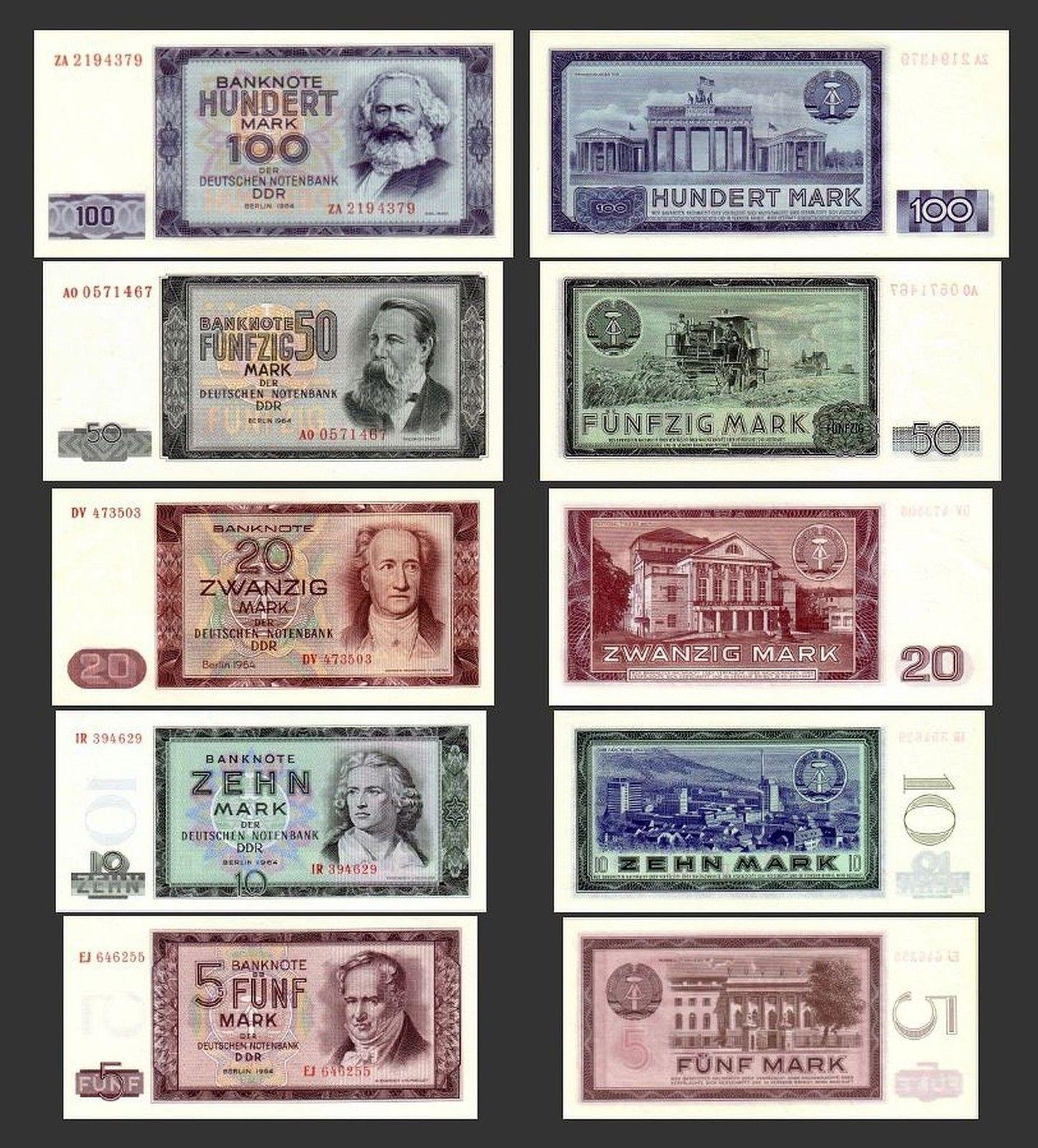 5 10 20 50 100 Ddr Mark Banknoten 1964 Alte Ddr Wahrung Ddr Ddr Geld Ddr Bilder