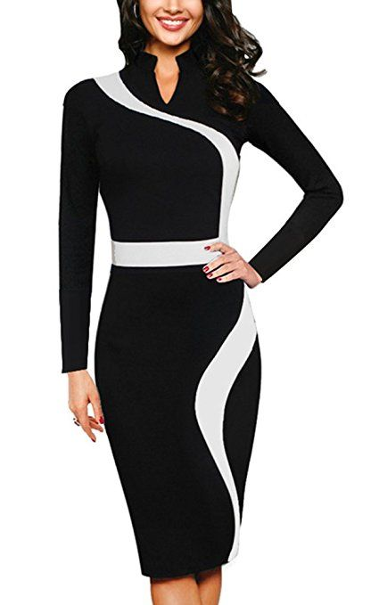 c17680a7646f26 Homeyee Frauen elegante Revers Schwarz dünnes Abend-Party-Geschäfts,  figurbetontes Kleid - business kleidung damen business outfit frauen  business casual ...