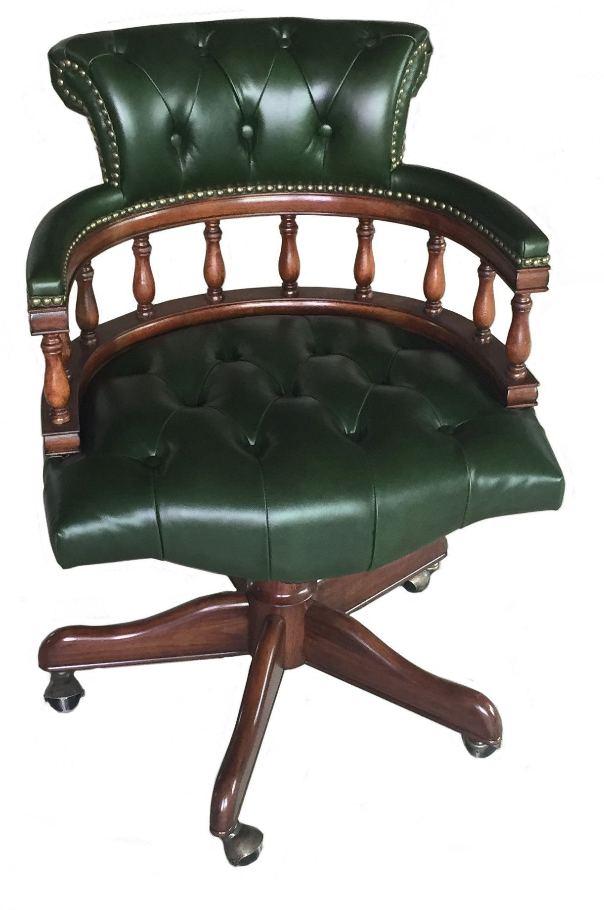Features:  Eastern Legends Upholstery Genuine Leather Bankers Chair.  Blacku2026
