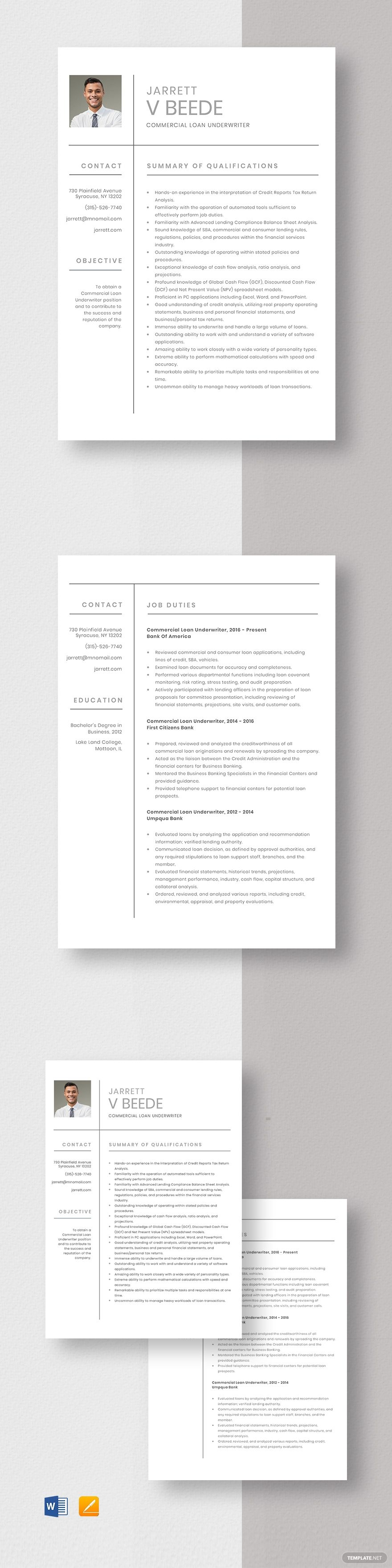 Commercial Loan Underwriter Resume Cv Template Word Doc Apple Mac Pages Cv Template Word Project Manager Resume Resume Template