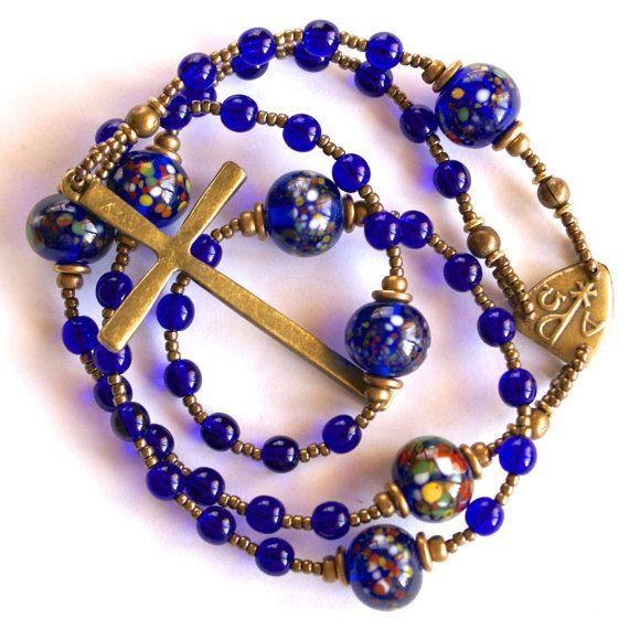 Handmade Lutheran Rosary Prayer Beads In Cobalt By