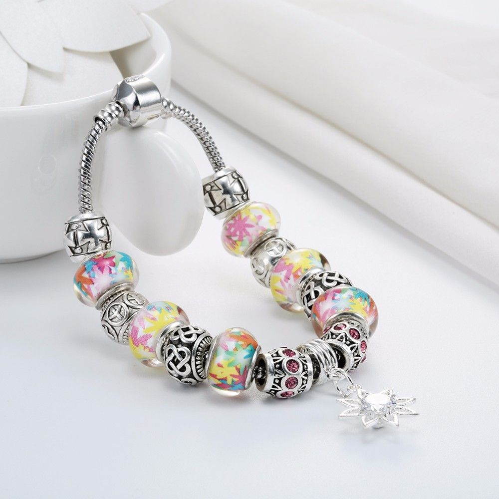 Silver square colorful girl murano crystal bracelet products