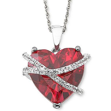 jcp | Lab-Created Ruby and White Sapphire Wrapped Heart Pendant Necklace