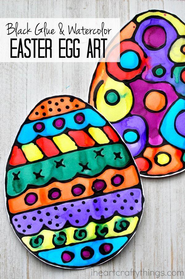 Black Glue And Watercolor Resist Easter Egg Art Crafts For KidsEaster