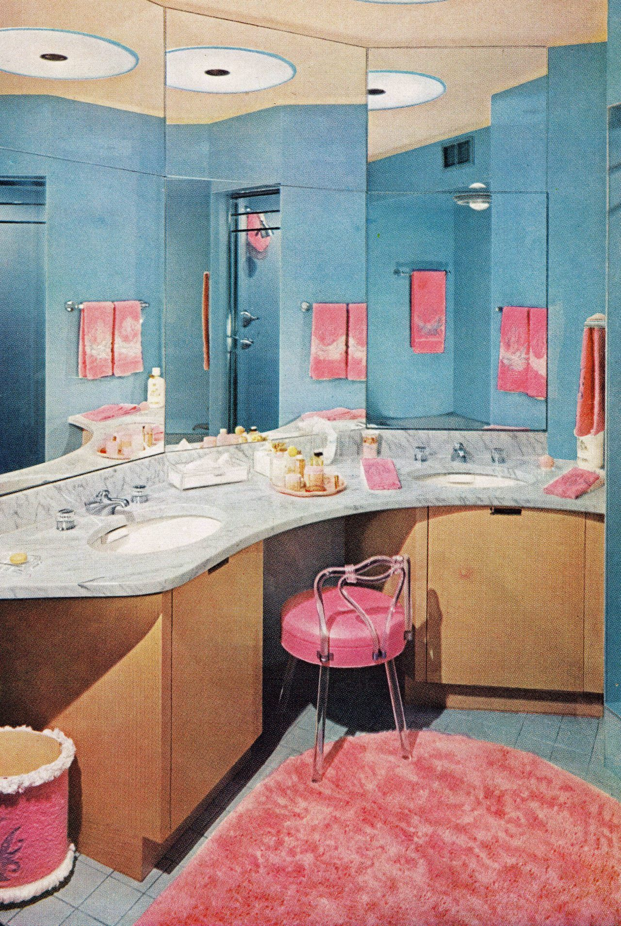 Lovely Pink And Blue Bathroom 1956