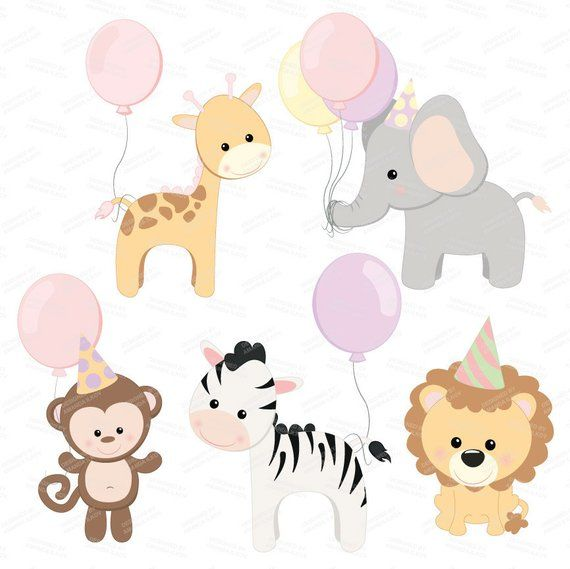 Professional Baby Birthday Party Animals Clipart Vector Set Baby