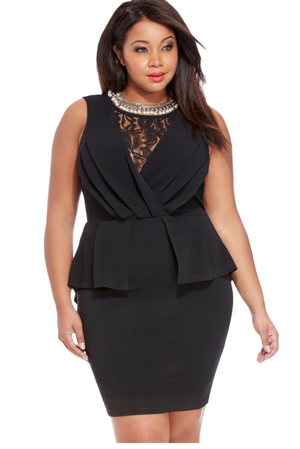 hot summer woman lace detail plus size little black peplum dress