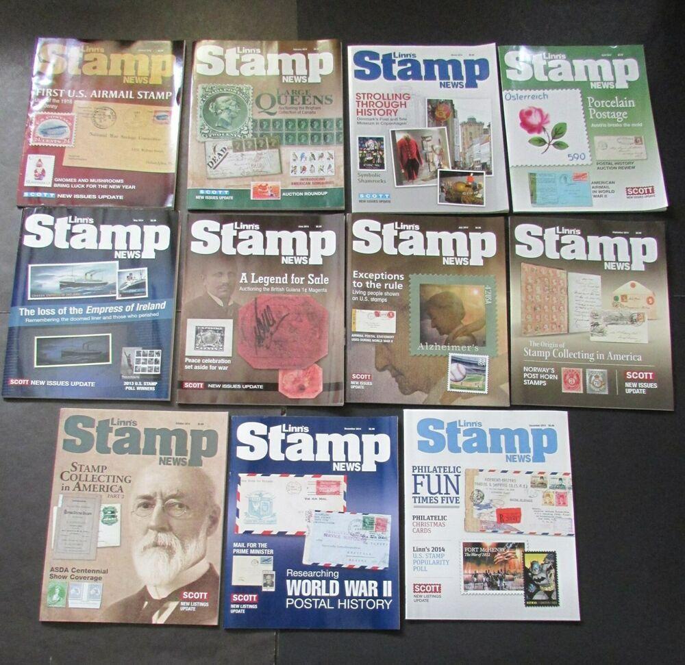 lot of 11 linn s stamp news 2014 magazines linn details magazine stamp