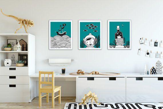 """Wandbilder 3er Set """"Unter dem Meer"""" Wandgestaltung"""