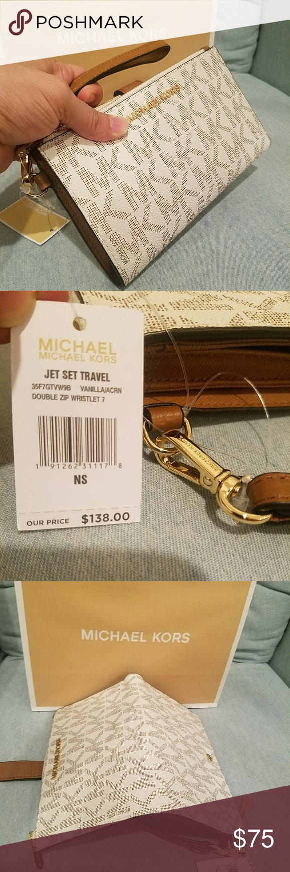 New clutch wristlet wallet double zipper michael AUTHENTIC ...
