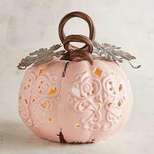 Medium Pink Pumpkin Tealight Candle Holder #pinkpumpkins