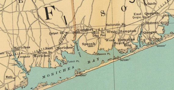 Long Island  Suffolk County  1895 Map Bien by Oldmap on Etsy