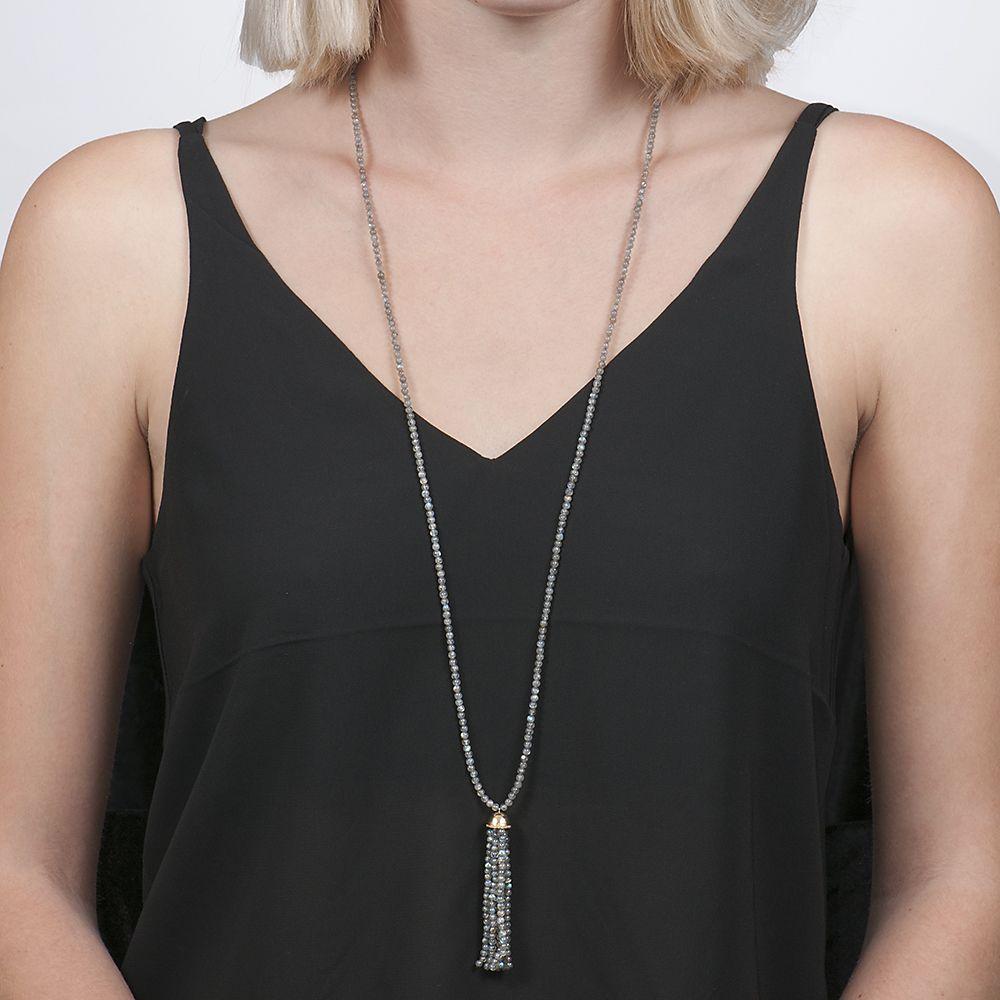 London Road Jewellery Stylish Labradorite Tassel Necklace Ar5yrsUu0M