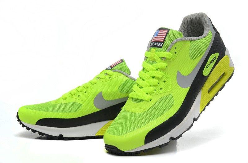 top fashion 7fcdf 064e0 Nike Air Max 90 Homme Hyperfuse Premium EM Neon/Fluorescent Vert/Blanche/Noir  Soldes Net