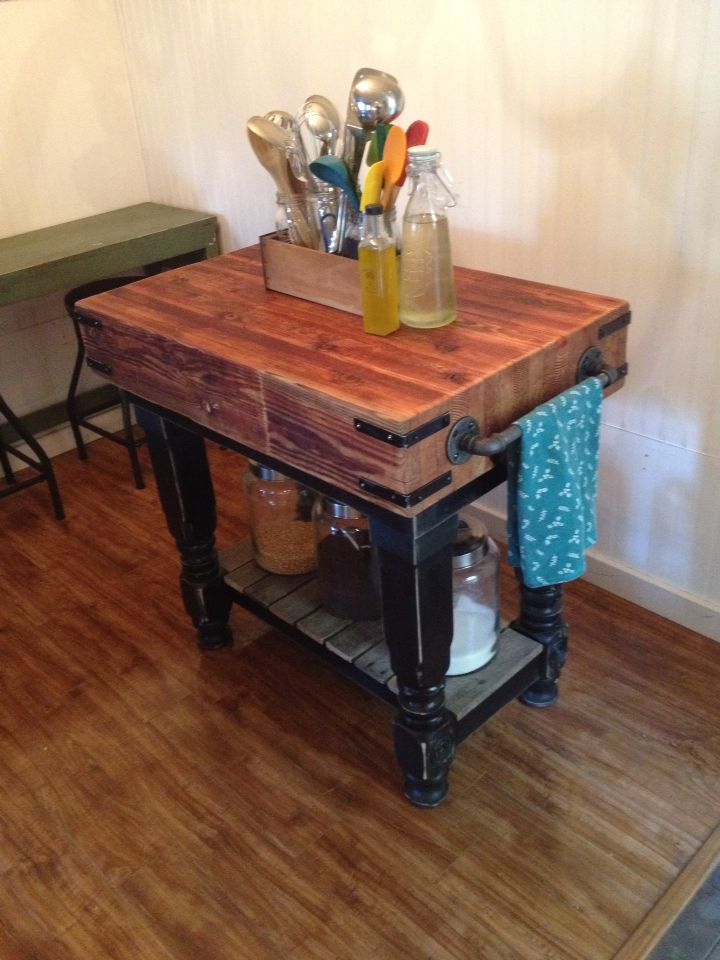 Rustic butcher block island | Butcher block kitchen, Kitchen ...