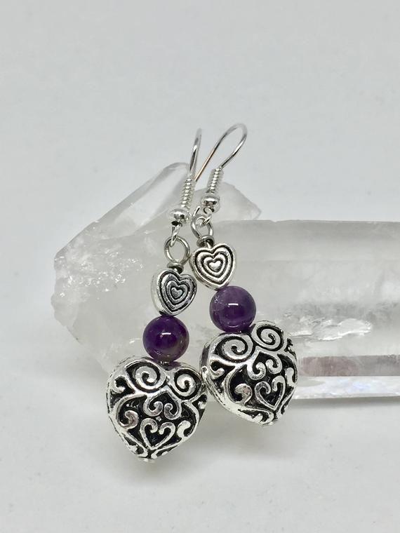 Photo of Amethyst silver filigree heart earrings, dark purple stone earrings, Valentine's,  February birthstone, love earrings, healing stone,