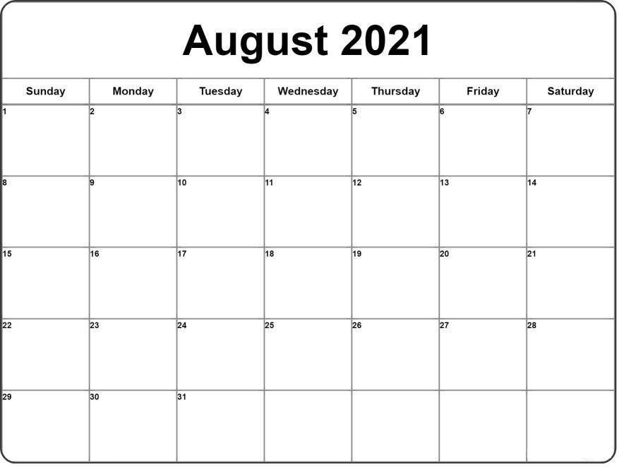 August 2021 Calendar | Monthly calendar printable, 2021 calendar