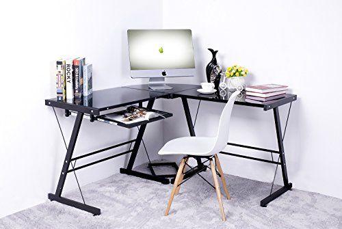 Amazon Com Merax Modern 3 Piece Corner Desk L Shaped Office Home Computer Desk Drafting Desk Bla Computer Desks For Home Black Desk Glass Office Desk Modern