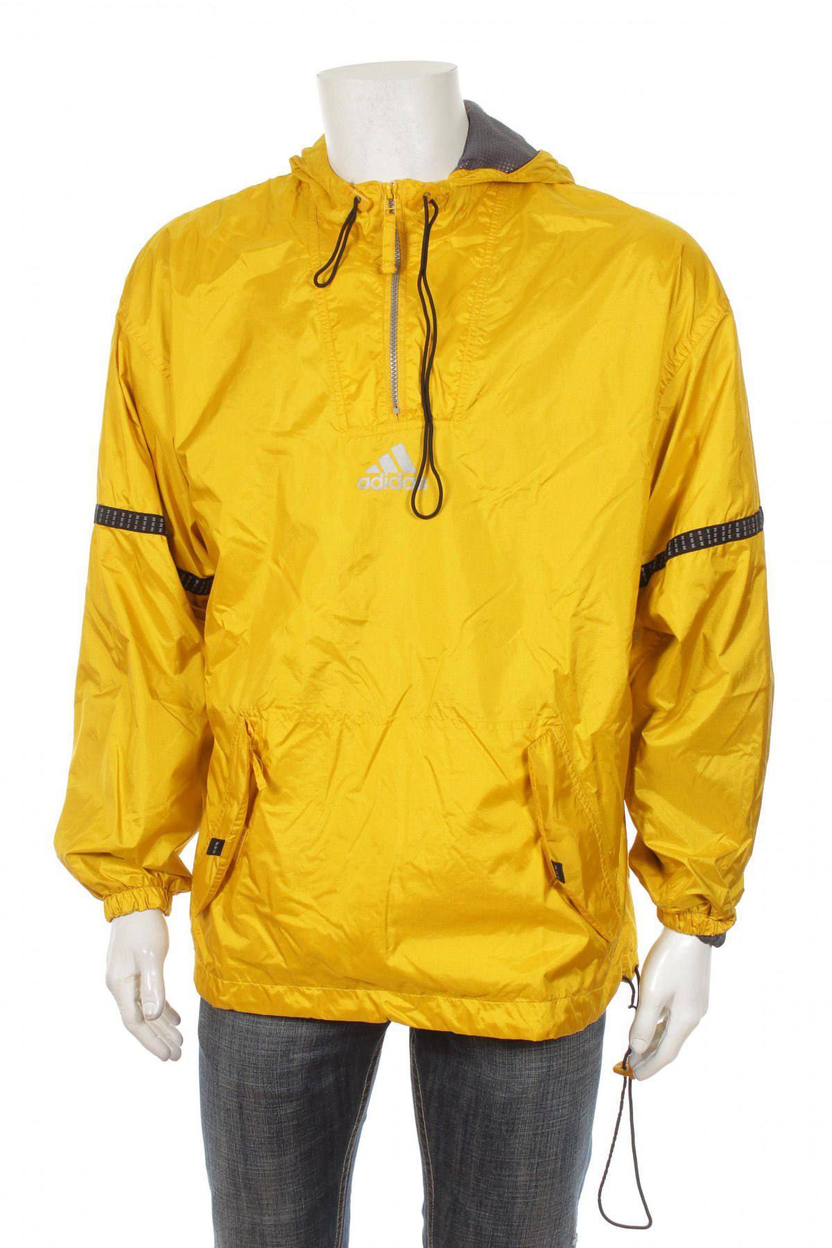 Vintage 90 Adidas Cortaviento chaqueta Big logo amarillo / Negro Talla M