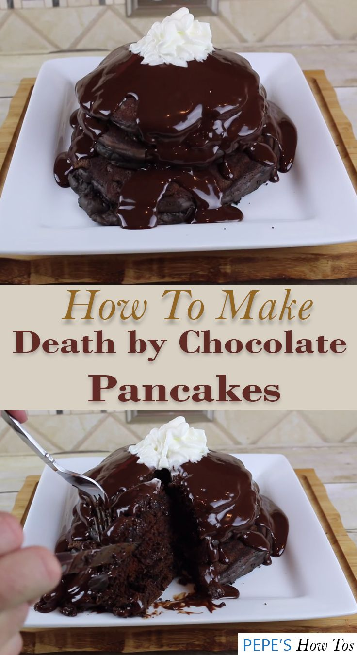 Start your day by satisfying your chocolate cravings with this easy pancake recipe. Well, how do you like a pancake made from chocolates and added by a melted chocolate syrup on top? Yum yum!