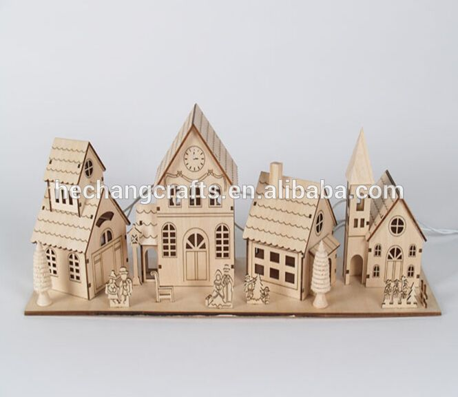 2016 small laser cutting wooden house crafts decorations