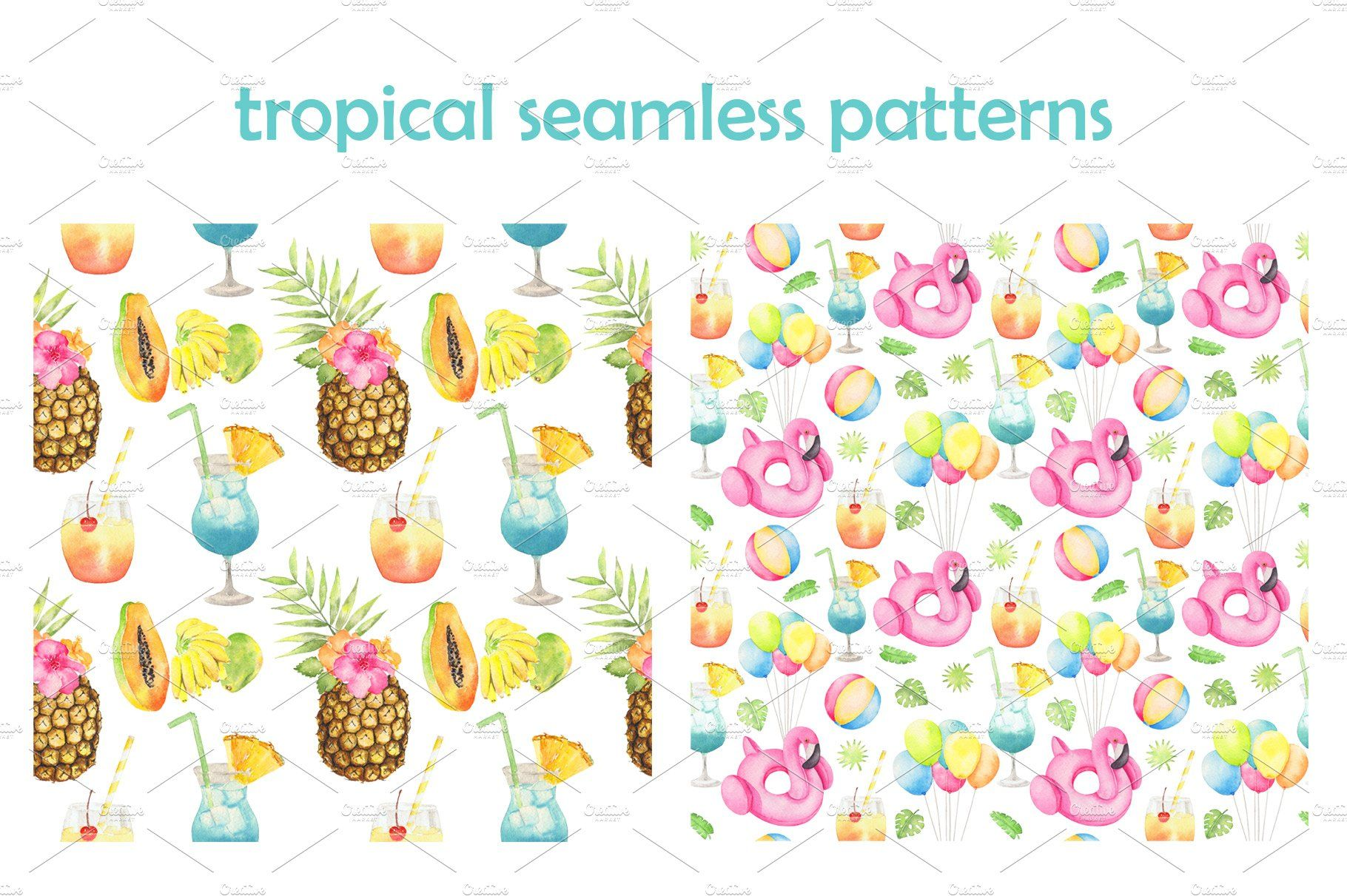 Tropical Pool Party Watercolor Set Tropical Pool Business Icons