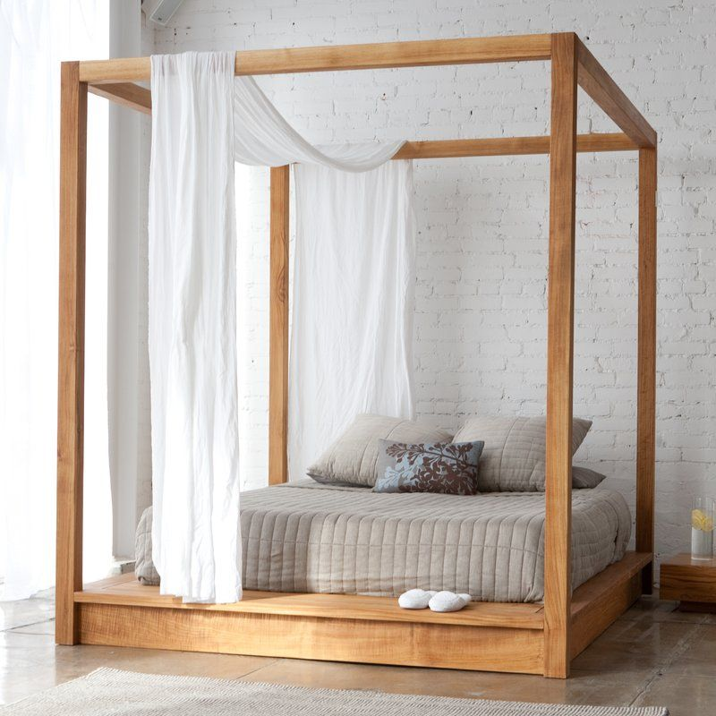 Osteen Contemporary Style Solid Wood Low Height Platform Canopy Bed Canopy Bed Frame Platform Canopy Bed Wood