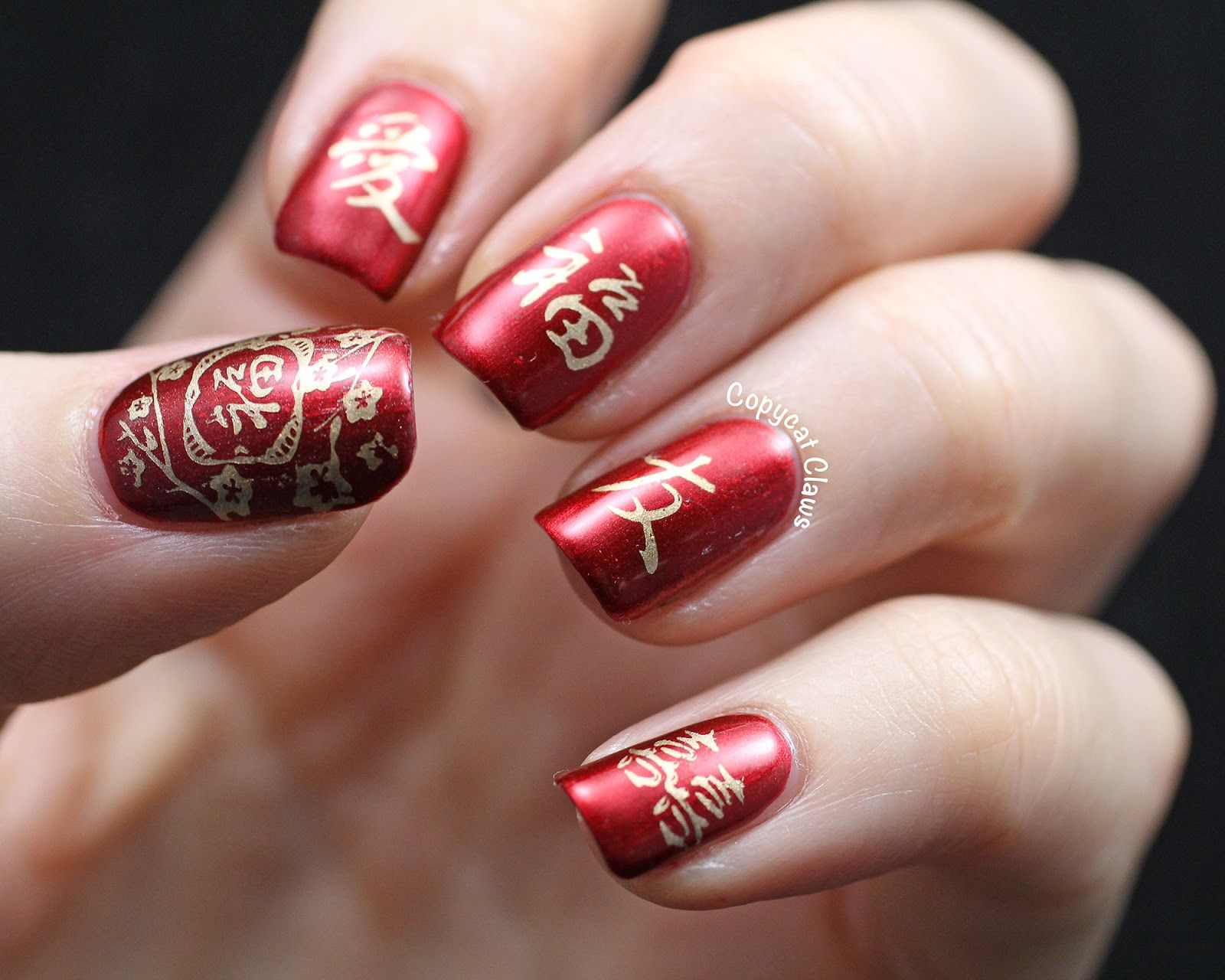 Chinese New Year Nail Art Aka Sunday Stamping On A Thursday New Years Nail Art Gel Nail Art Designs New Years Nail Designs