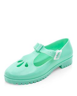 Mint Green T-Bar Teardrop Cut Out Jelly Shoes    New Look