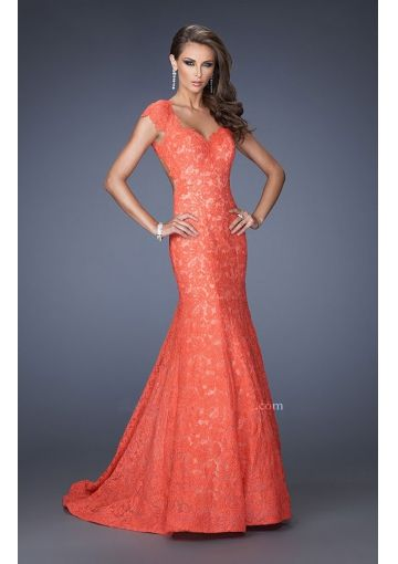 2014 Mermaid Cap Sleeve Open Back Lace Long Prom Dresses/ Formal ...