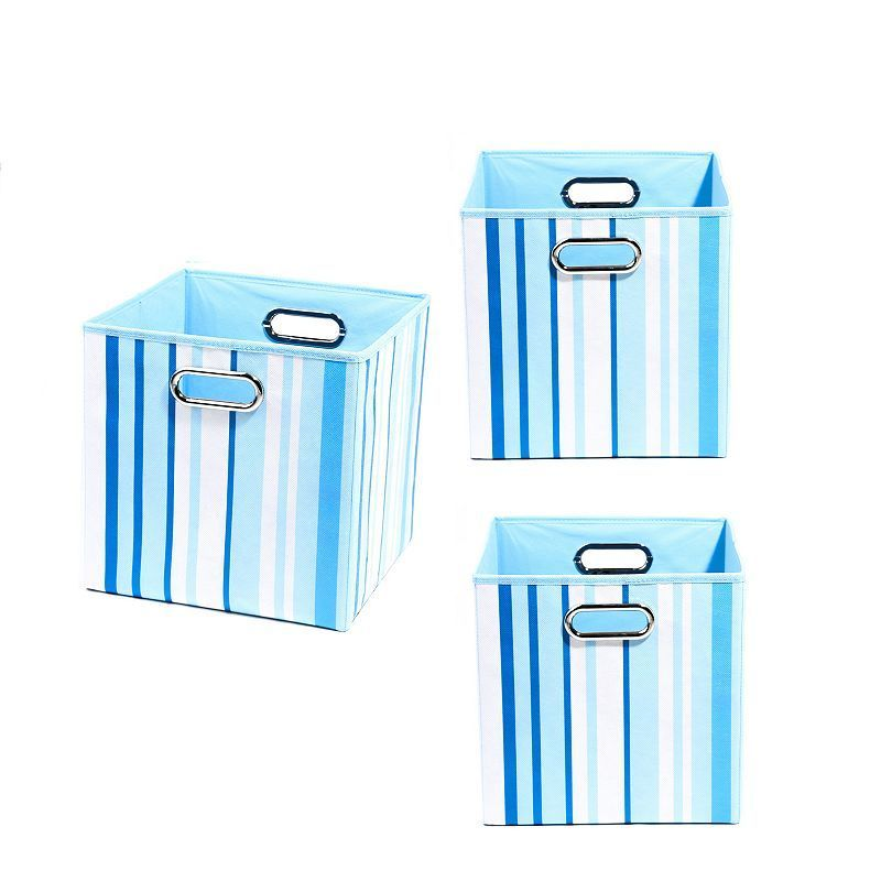 Modern Littles 3-pc. Striped Storage Bin Set, Blue