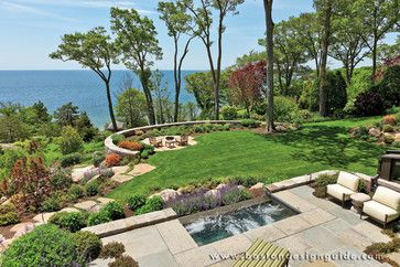 Waterfront Landscapes Design Ideas Pictures Remodel And Decor Landscape Design Sloped Backyard Traditional Landscape