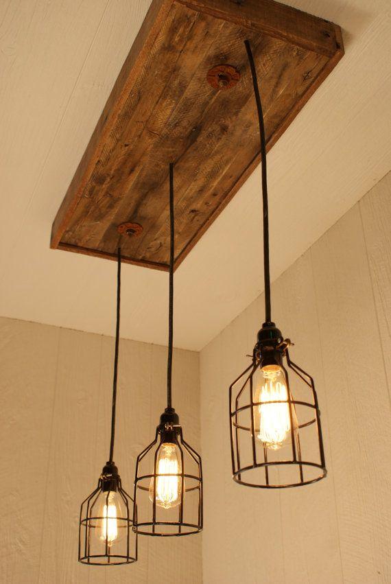 Industrial lighting chandelier Rustic Lighting Fixture Cage Light Chandelier Cage Lighting Edison By Bornagainwoodworks Pinterest Industrial Lighting Industrial Chandelier Black With Reclaimed