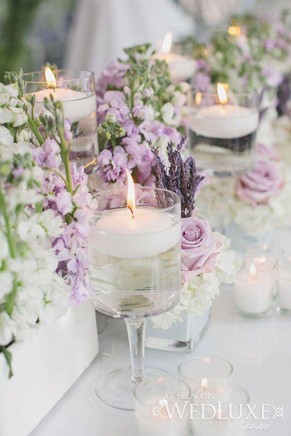 Lavender And Soft Purple Wedding Candle Centerpieces Florals Arrangement Tablescape