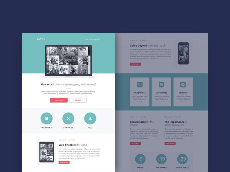 corp free responsive newsletter psd template on behance