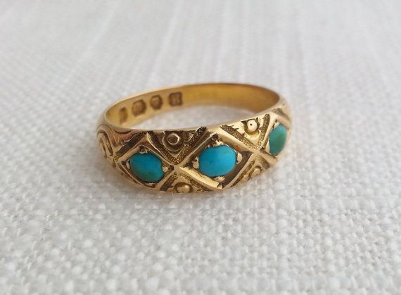 Antique 1877 Victorian 18K Solid Gold 3 Turquoise Stone Etched
