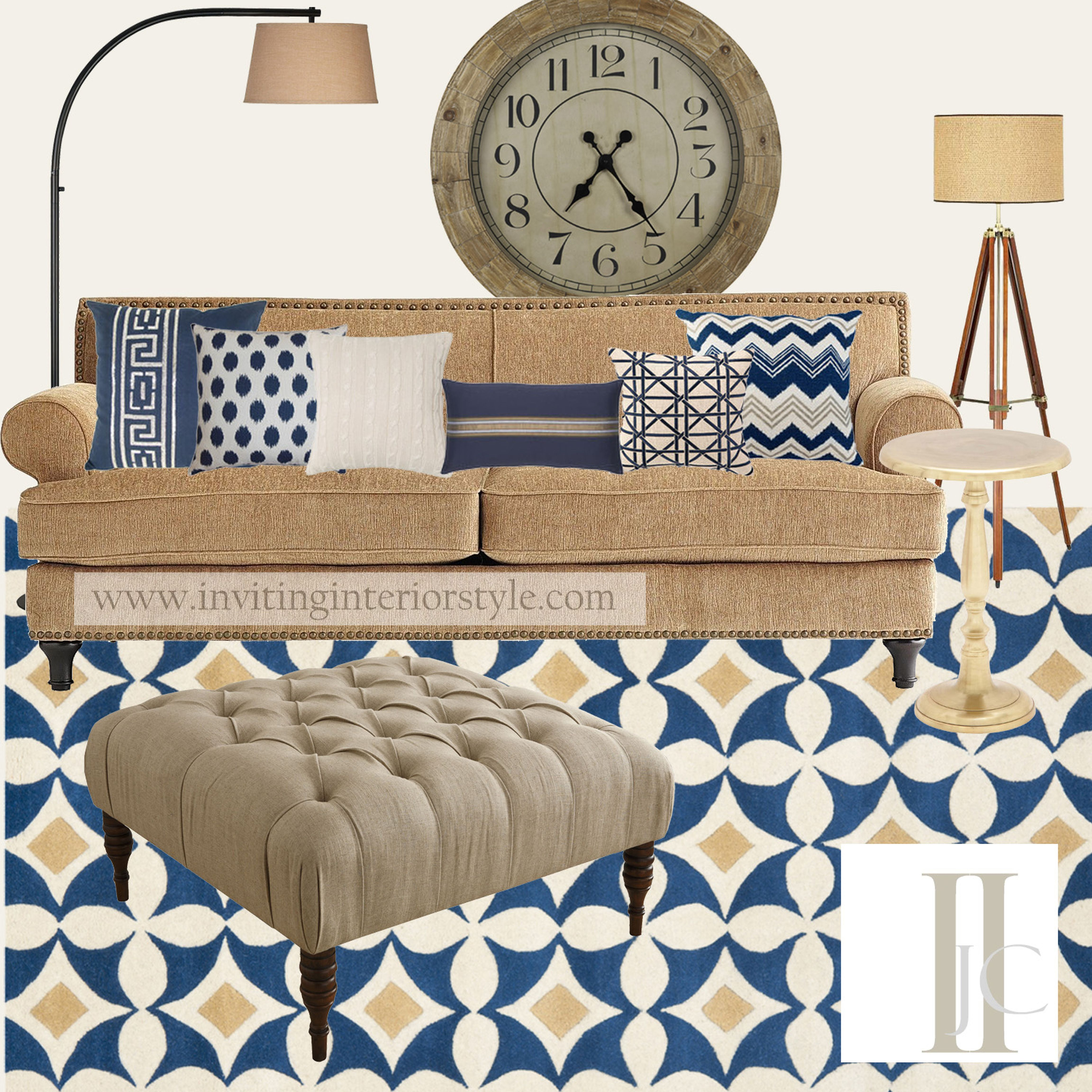 Navy and camel living room updated color palette with for Navy couch living room