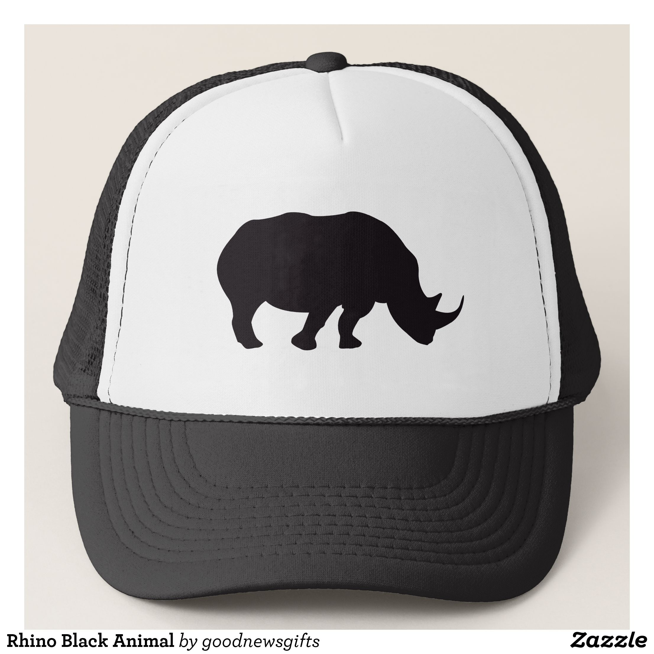 Rhino Black Animal Trucker Hat Zazzle Com With Images Black Animals Trucker Hat Hats