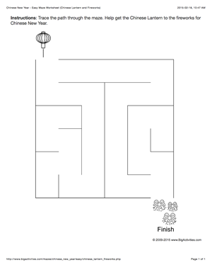 chinese new year maze worksheet with a chinese lantern and fireworks 4 levels of difficulty. Black Bedroom Furniture Sets. Home Design Ideas