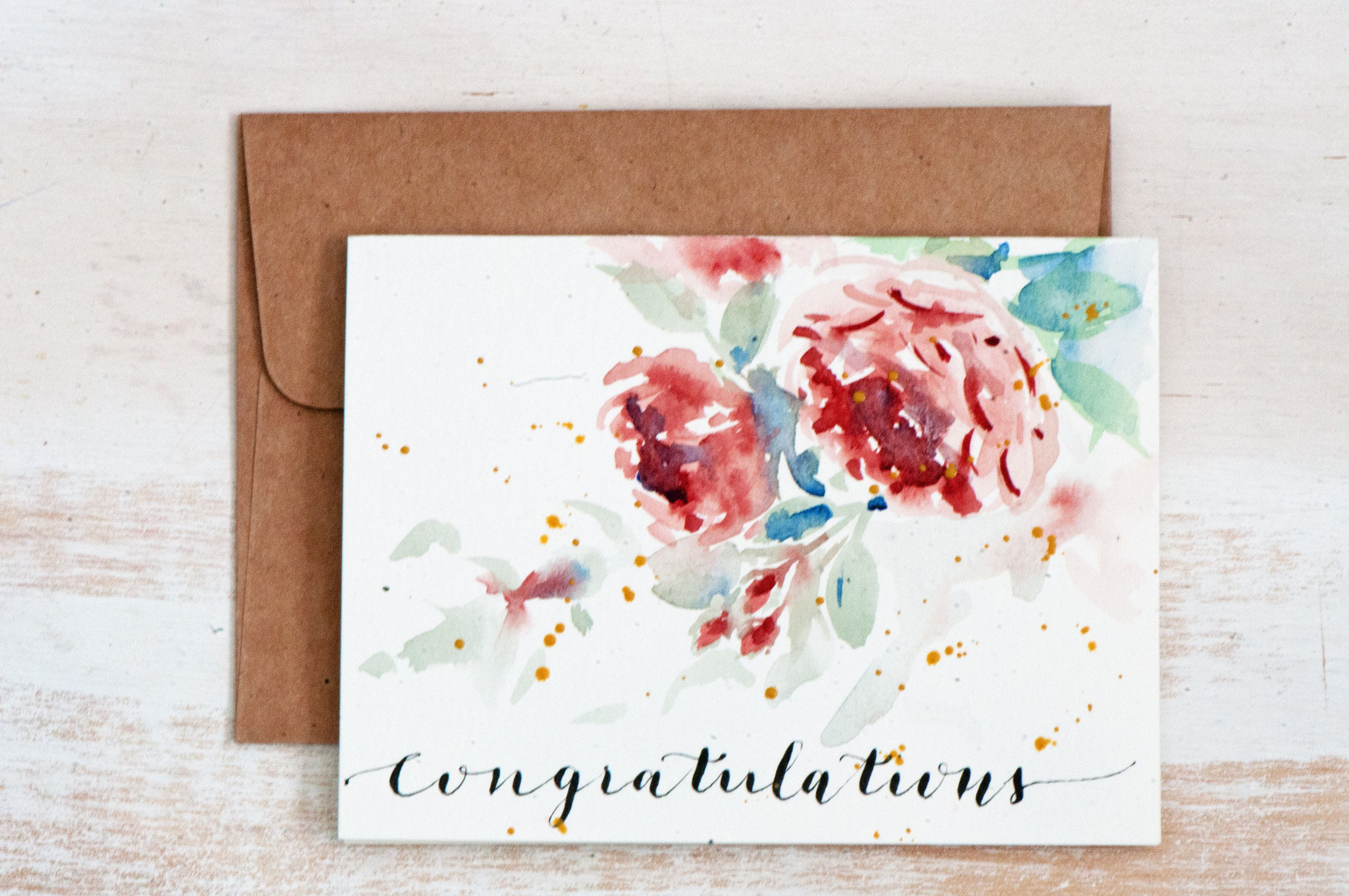 Congratulations Card Envelope Liner Handpainted Watercolor Cards
